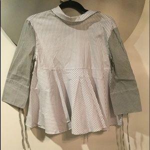 Black and white striped Aline shirt